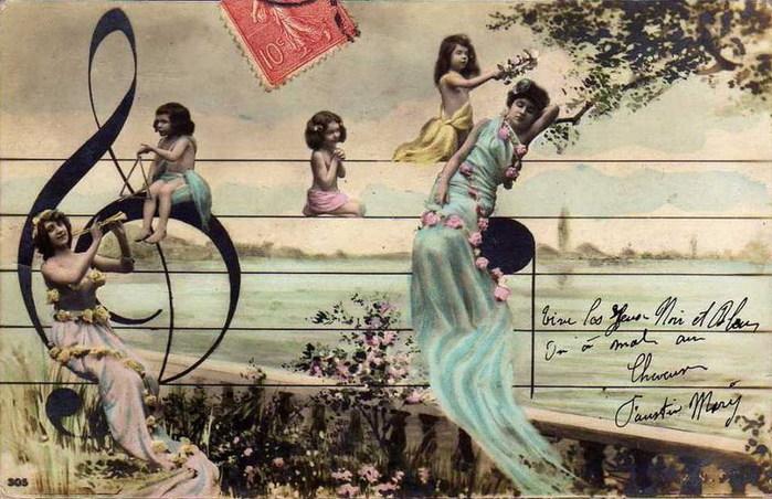 Старинные открытки о музыке, булочки картинки